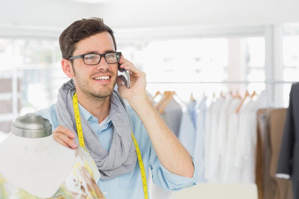 happy customer talking on the phone